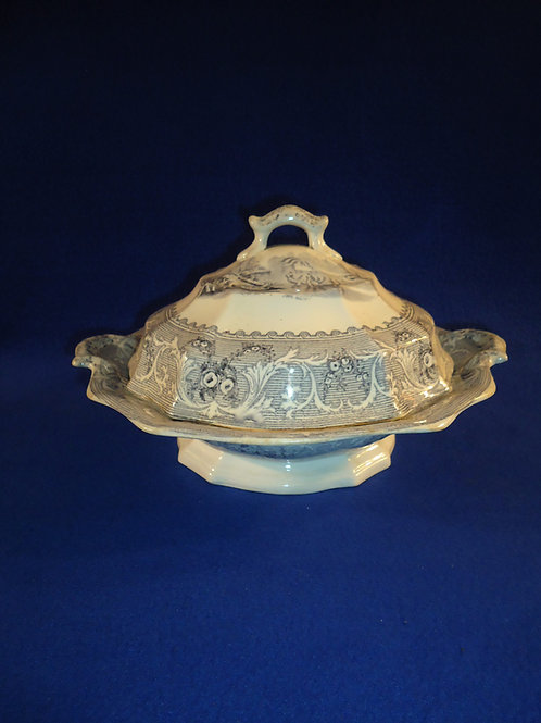 """Circa 1850 Staffordshire Covered Vegetable Dish in the """"Lake"""" Pattern"""