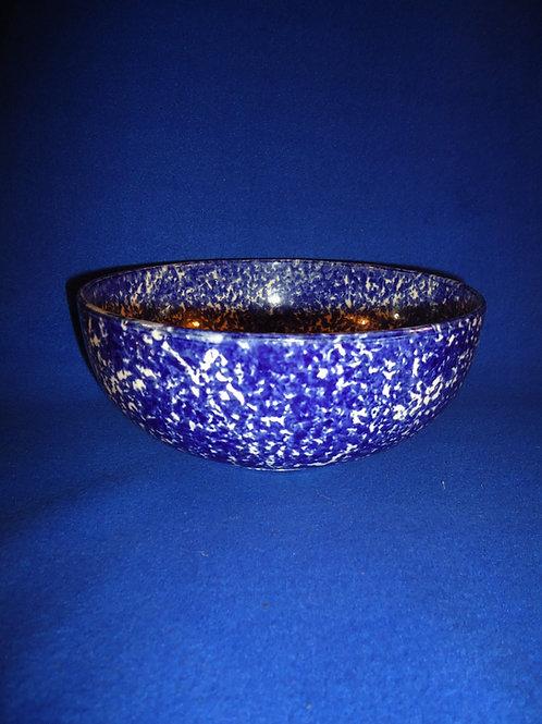Late 19th Century Staffordshire Blue and White Spongeware Bowl #5227