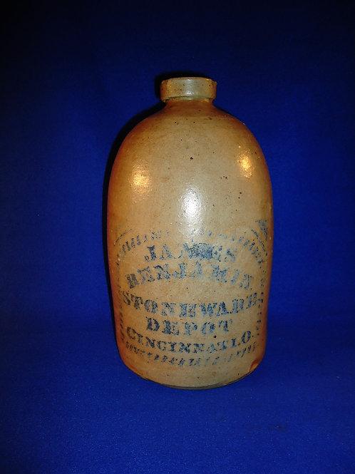 James Benjamin, Cincinnati, Ohio 1 Gallon Stoneware Jug with Bordered Label