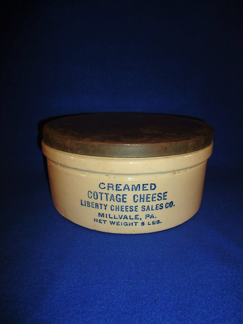 Cottage Cheese Stoneware Crock with Lid, Millvale, Pennsylvania #5207