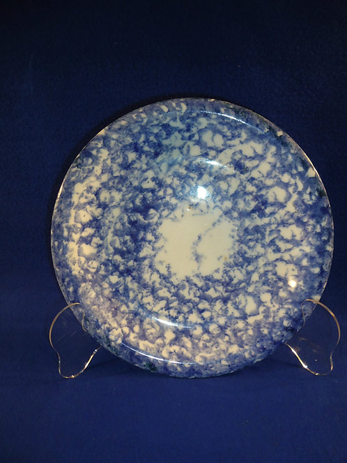 Blue and White Spongeware Stoneware Pie Plate with the Bullseye Pattern
