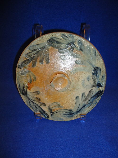 Circa 1860 Stoneware Decorated Cake Crock Lid, att. Remmey of Philadelphia