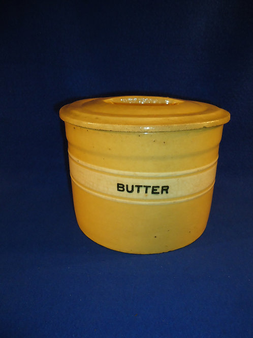 Yellow Ware Butter Crock with Lid, Dandy Line of Brush McCoy  #4499