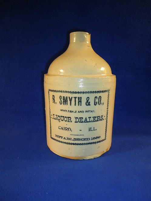 R. Smyth, Liquor Dealers, Cairo, Illinois Stoneware 1/2 Gallon Jug