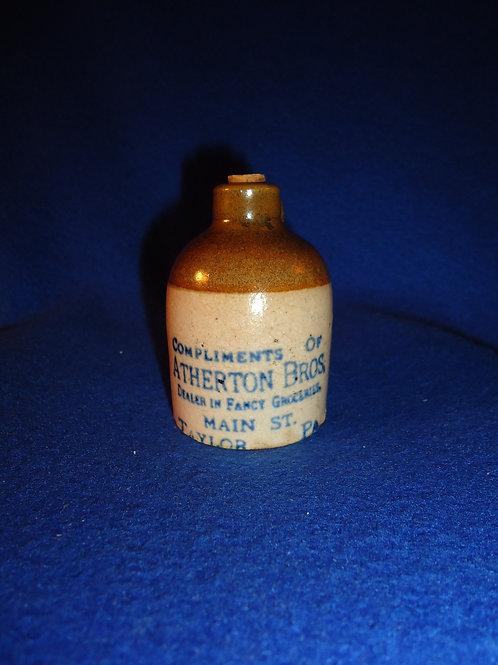 Atherton Bros., Groceries, Taylor, Pennsylvania Stoneware Mini Jug