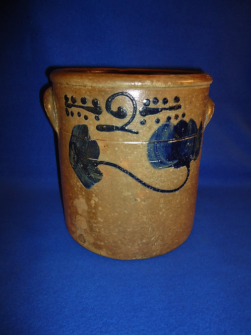 Circa 1880 Midwestern 2 Gallon Crock with Folky Flower #5140