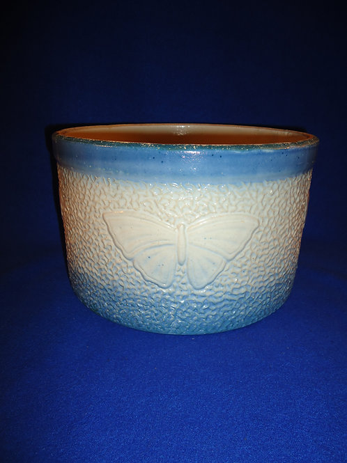 "Rare Blue and White Stoneware Butterfly Butter Crock- 6"" by 9 1/2""!"