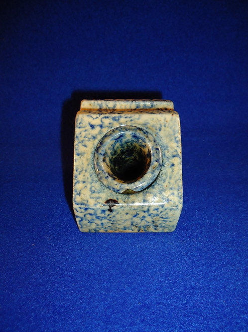 Blue and White Spongeware Stoneware Inkwell with Insert