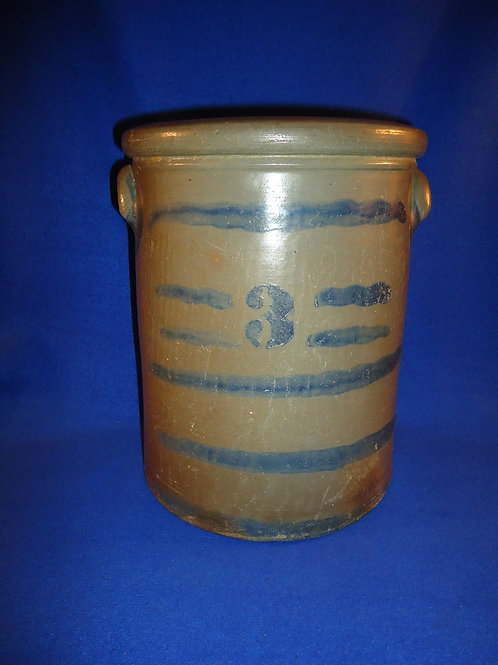 "3 Gallon Stoneware ""Striper"" Crock, att. Palatine, West Virginia #4618"