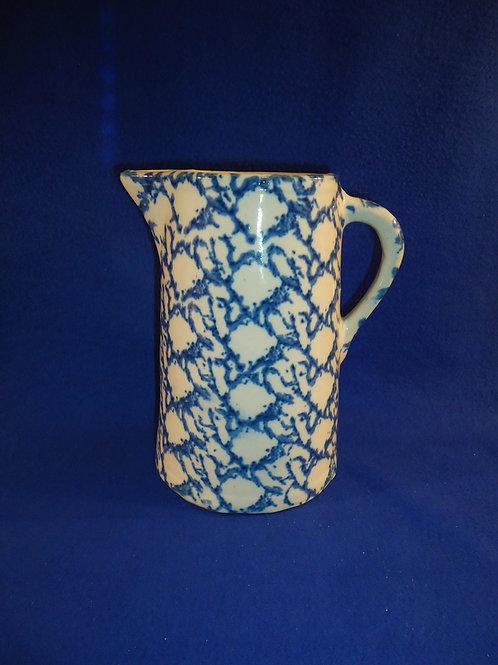 Blue and White Spongeware Stoneware Pitcher with Careful Pattern #5381