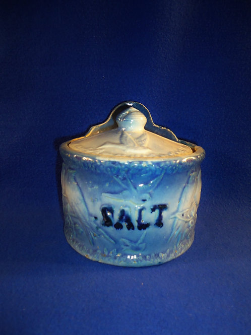Blue and White Stoneware Salt Crock in the Lovebirds Pattern