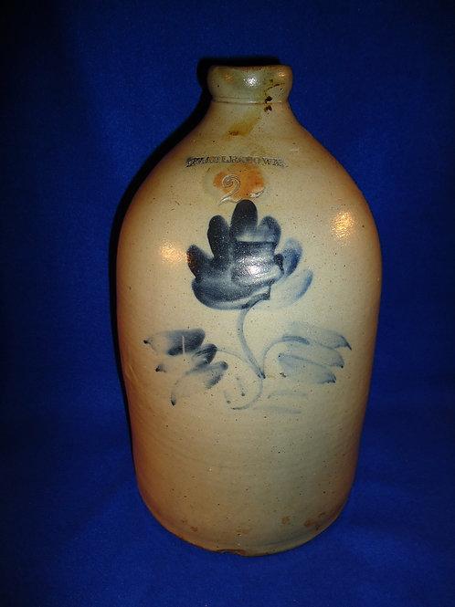 Charlestown, Massachusetts Stoneware 2 Gallon Jug with Flower