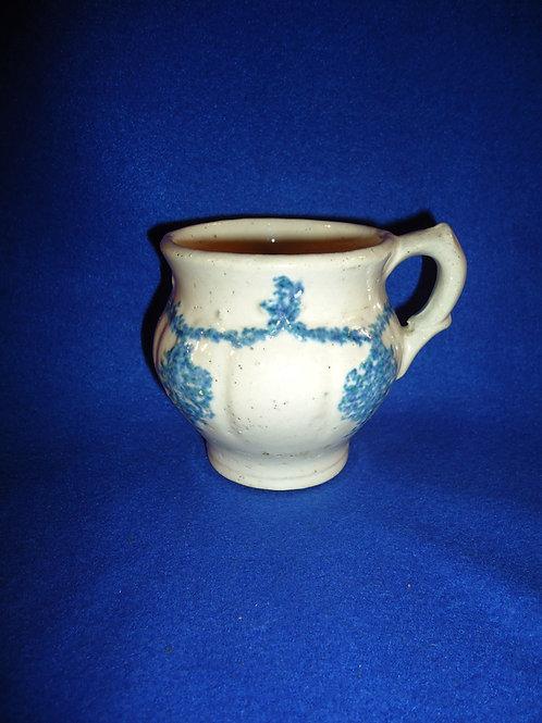 Blue and White Stoneware Shaving Mug, Drape and Tassel Pattern #4495