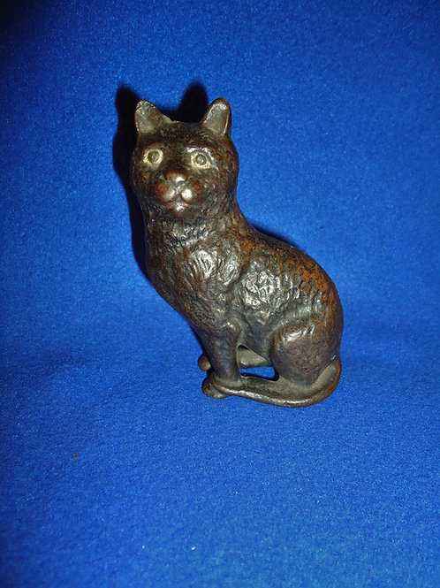 Cast Iron Still Bank, Seated Cat with Soft Hair by Arcade, #4653