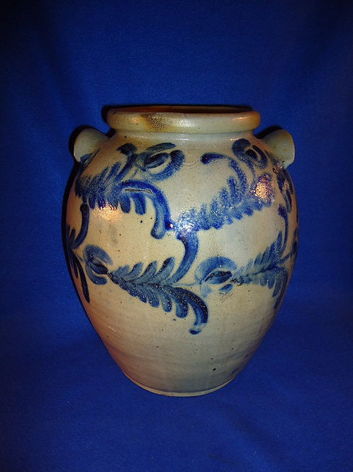 Circa 1830 2 Gallon Stoneware Ovoid Jar att. David Parr of Baltimore, Maryland