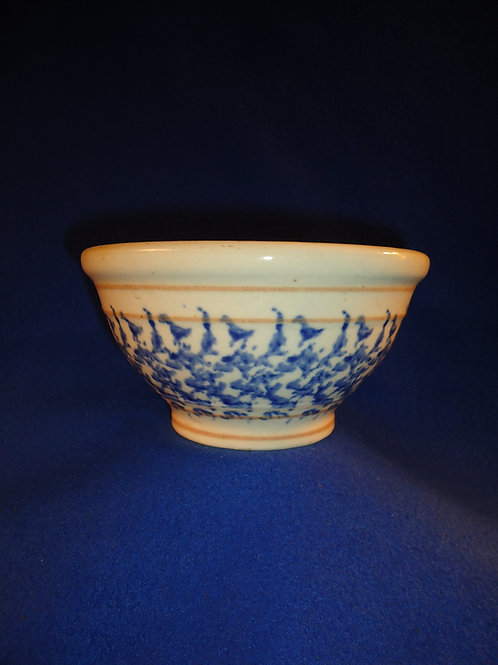 "Early 20th Century 6"" Blue and White Stoneware Spongeware Bowl"