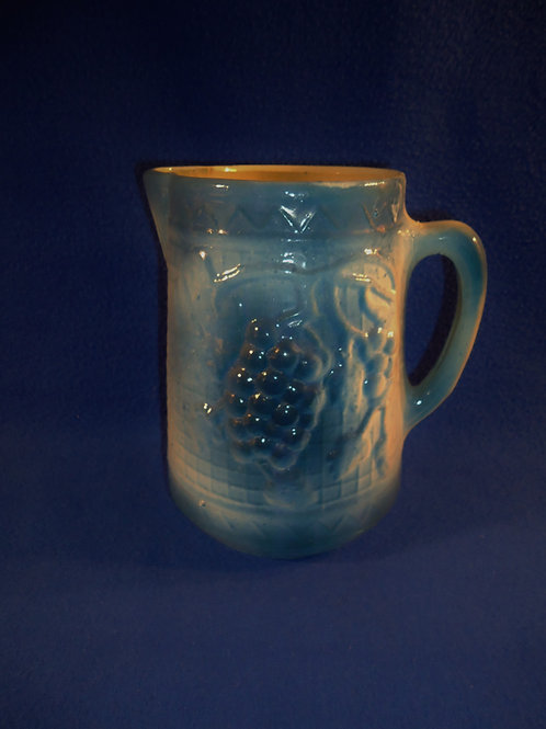 Blue and White Stoneware Grape Cluster on Rick Rack Pitcher