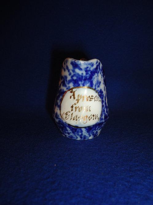 Blue and White Stoneware Spongeware Miniature Souvenir Creamer