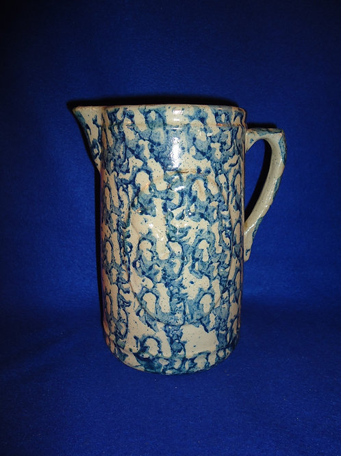 Blue and White Stoneware Spongeware Pitcher in the Girl and Dog Pattern