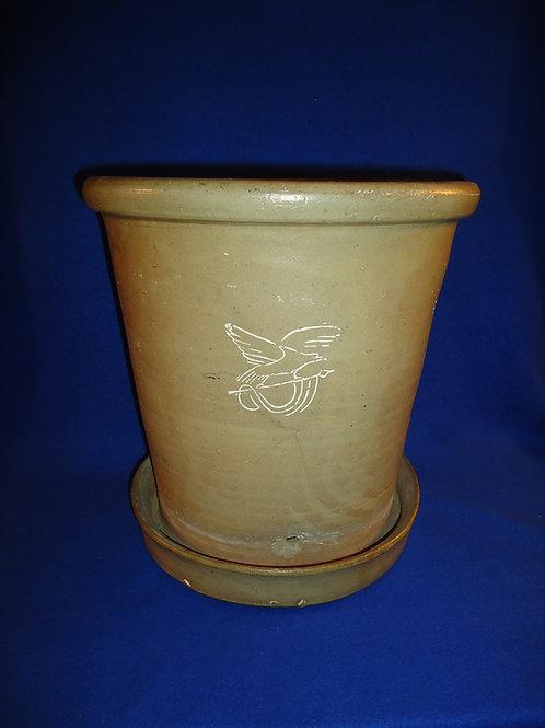 Large 3 Gallon Stoneware Flower Pot with Eagles, Gardner Stoneware, Maine