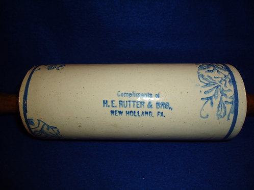 H. E. Rutter, New Holland, Pennsylvania Blue and White Stoneware Rolling Pin