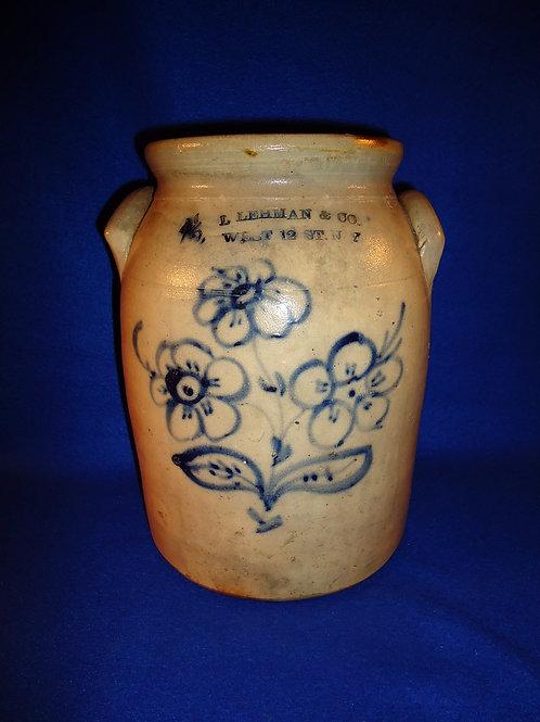 L. Lehman, New York City, 1 1/2 gal. Stoneware Preserve Jar with Triple Daisies