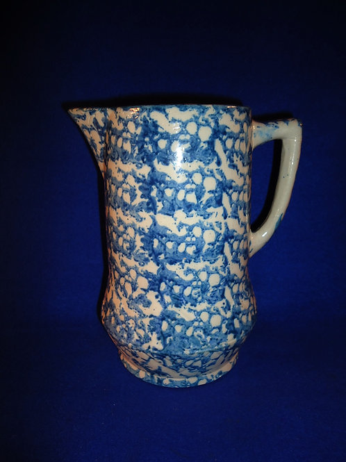 """9"""" Blue and White Spongeware Pitcher with Dark Cobalt Controlled Sponging"""