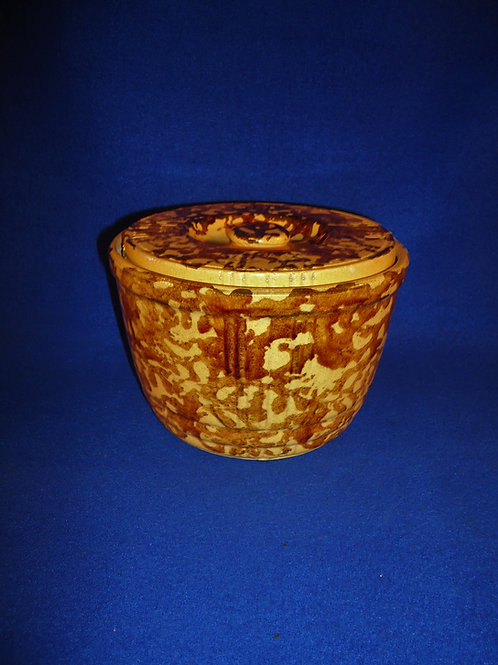 Yellow Ware Covered Bowl, Ribbed Sides  #4969
