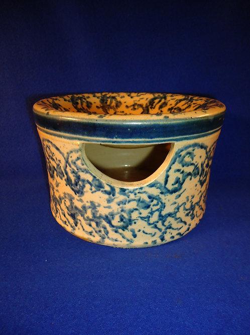 Blue and White Spongeware Stoneware Pillbox Cuspidor, Spittoon