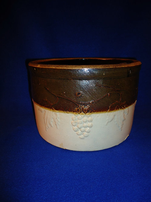 Large Butter Crock with Butterflies and Grapes Pattern