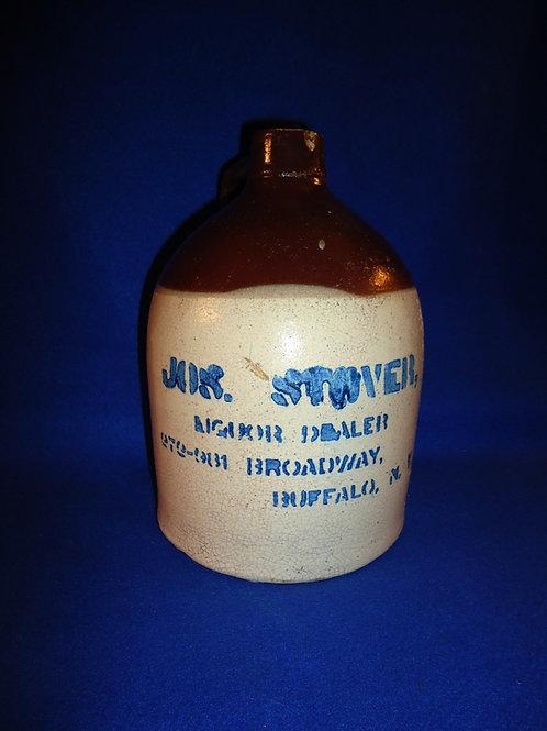 Jos. Stover, Liquor Dealer, Buffalo, New York Stoneware 1/2 Gallon Jug