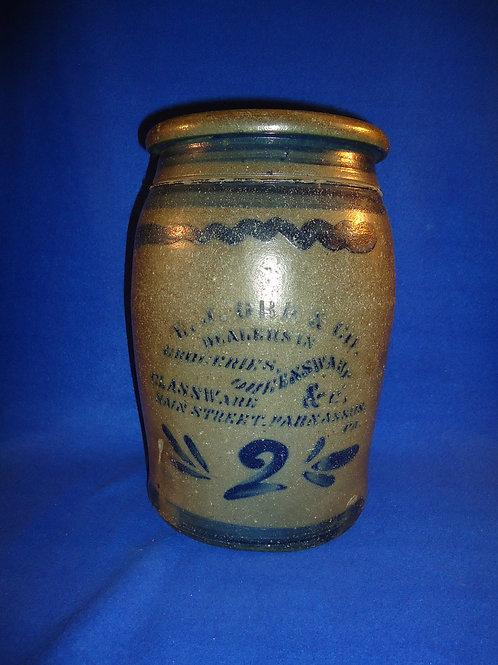 E. J. Orr, Grocer & Glassware, Parnassus, Pennsylvania Stoneware Jar