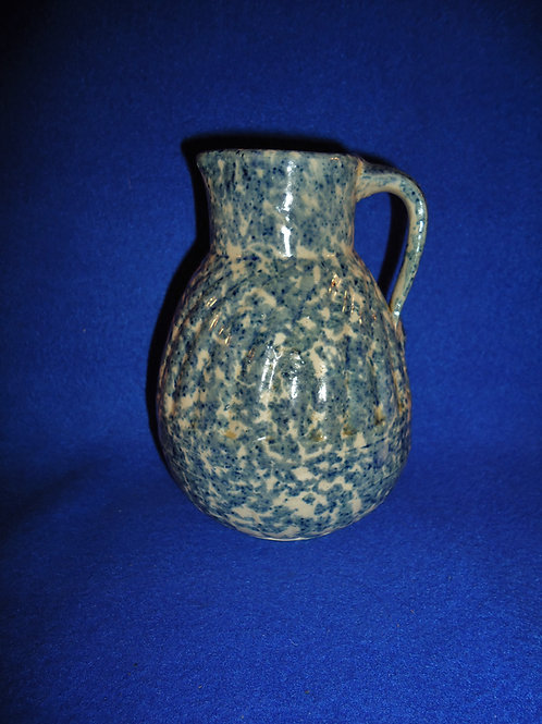 Blue and White Stoneware Spongeware Syrup Jug by F. W. Weeks, Akron, Ohio