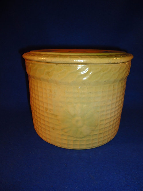 Yellow Ware Pastry Crock in the Daisy and Waffle Pattern