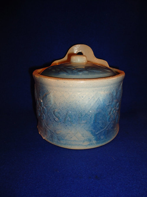 Blue and White Stoneware Apple Blossom Salt Crock with Lid