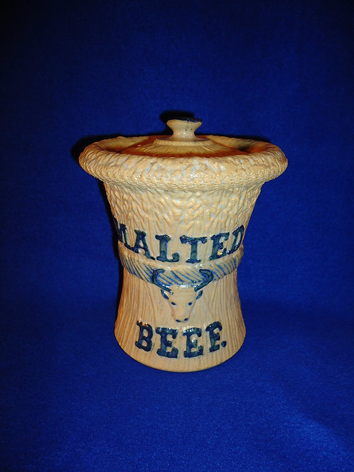 Malted Beef Stoneware Jar with Lid by Whites Pottery of Utica, N.Y.