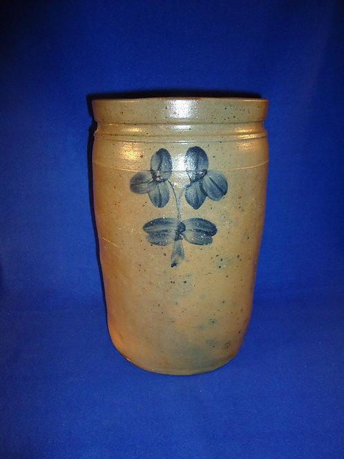 Circa 1870 2 Gallon Stoneware Jar with Clovers from Baltimore, Maryland