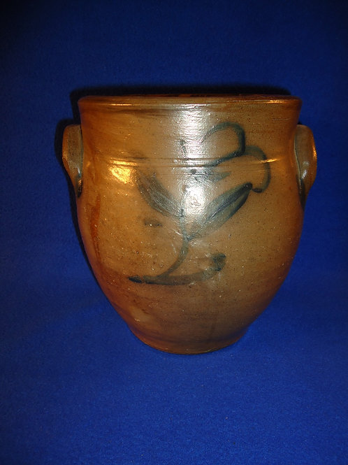 Circa 1840 1 1/2 Gallon Stoneware Ovoid Jar with Plant from the Northeast
