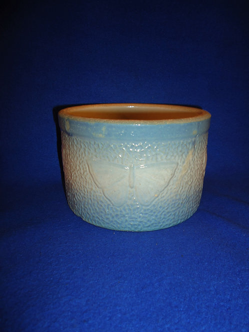Blue and White Stoneware Butterfly Butter Crock #5493