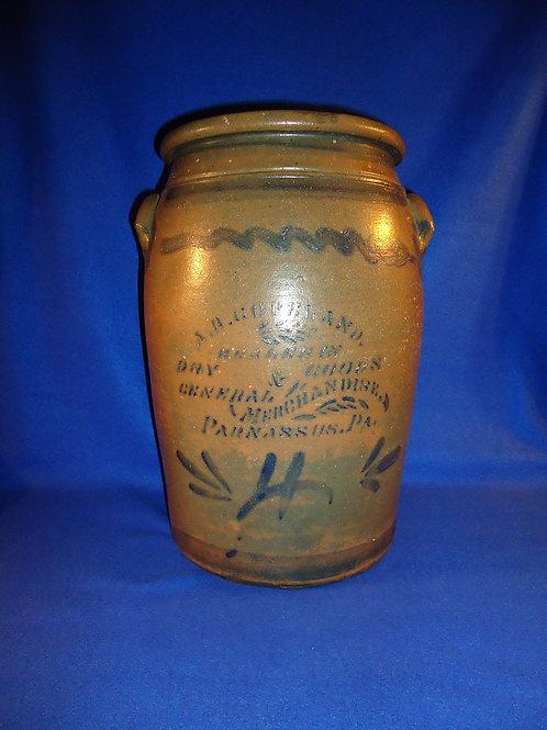 Copeland, Dry Goods Dealer, Parnassus, Pennsylvania 4g Stoneware Jar