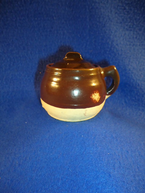 Circa 1900 Stoneware Miniature Toy Bean Pot with Lid