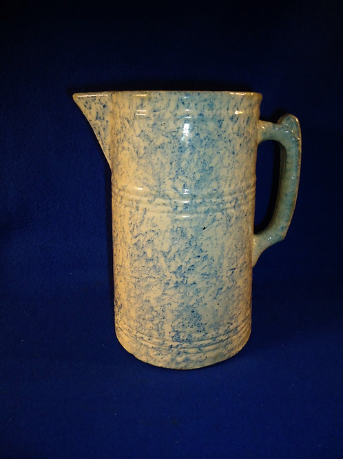 Blue and White Stoneware Spongeware Pitcher by Red Wing