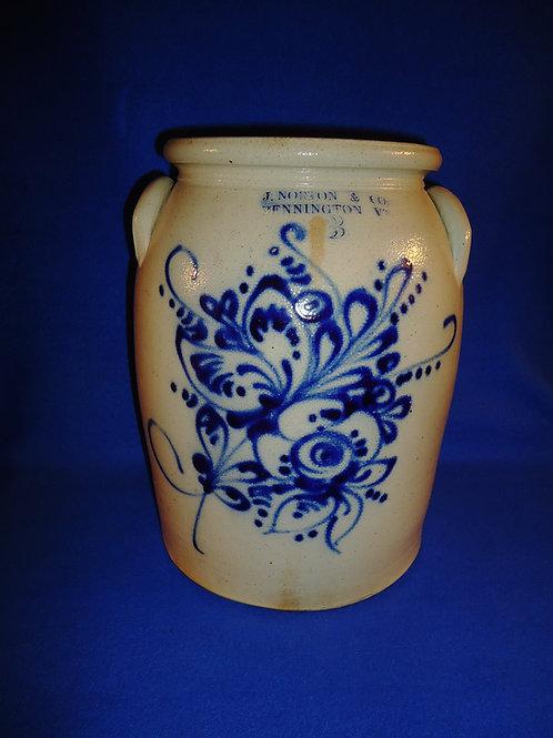 J. Norton, Bennington, Vermont Stoneware 3g Jar with Huge Floral #5892