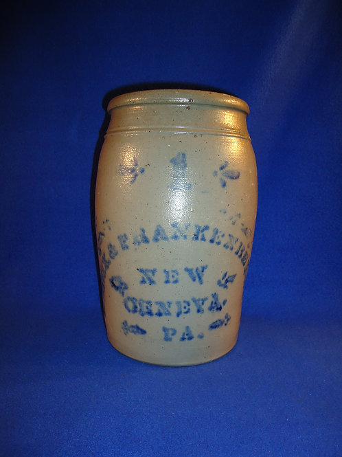 Eneix and Frankenberry, New Geneva, Pennsylvania Stoneware Jar