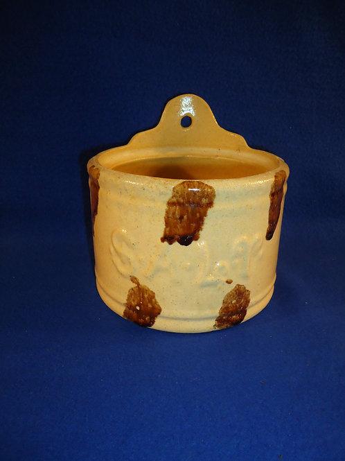 Yellow Ware Salt Crock with Rockingham Daubs, #4773