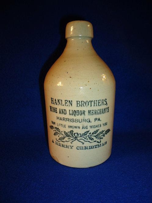 "Hanlen Brothers, Harrisburg, Pennsylvania Stoneware ""Merry Christmas"" Jug"