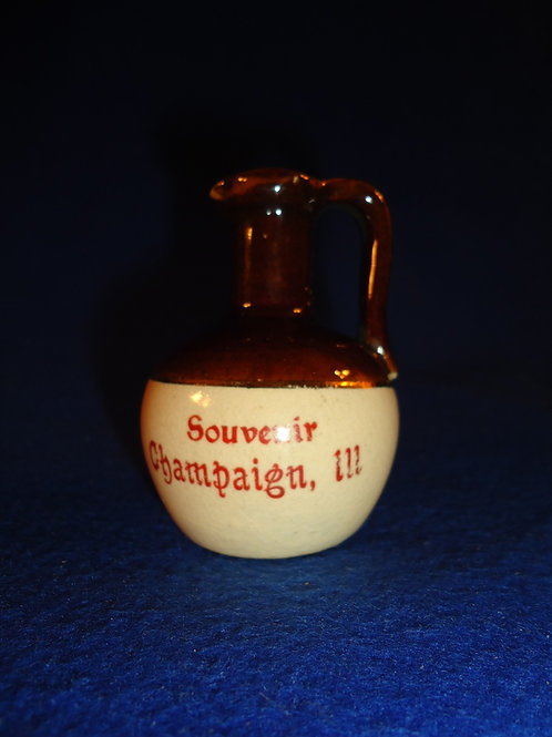 Souvenir of Champaign, Illinois Stoneware Mini Jug