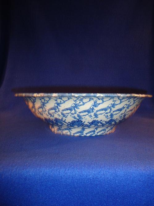 Circa 1890 Blue and White Spongeware Stoneware Wash Bowl #4479