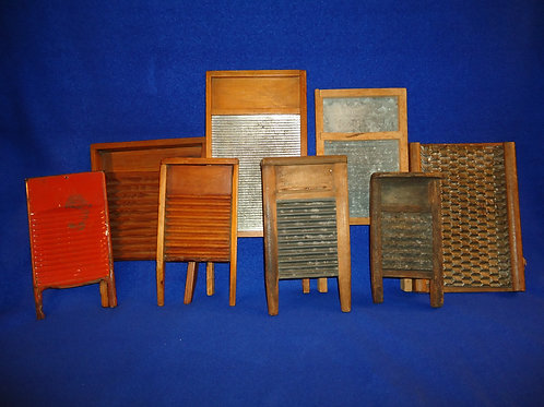 Collection of 8 Antique Toy and Miniature Wash Boards