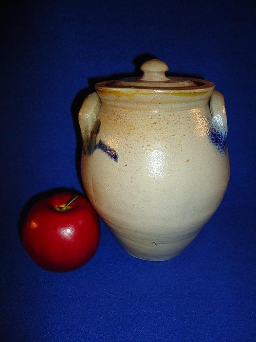 Circa 1830 Tiny Stoneware 1/2 Gallon Ovoid Jar with Lid